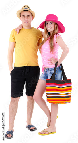 Young couple tourist isolated on white
