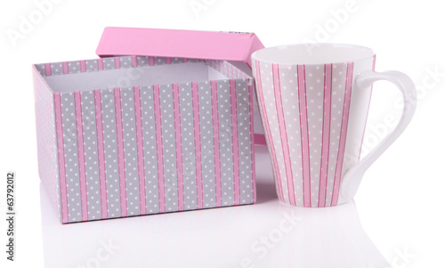 Cup with box close-up isolated on white