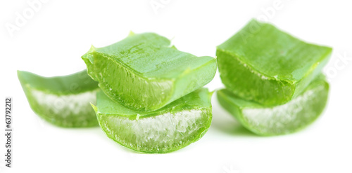 Fresh green aloe leaves, isolated on white
