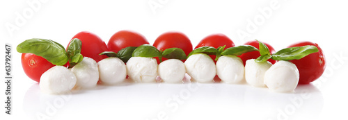 Tasty mozzarella cheese balls with basil and red tomatoes,