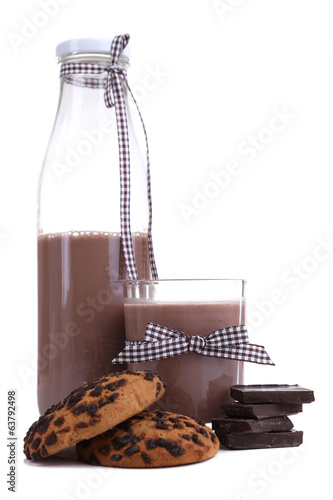 Chocolate milk in bottle and glass isolated on white