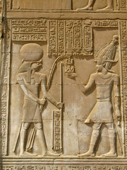 Temple of Kom Ombo, Egypt: the Pharaoh and god Horus