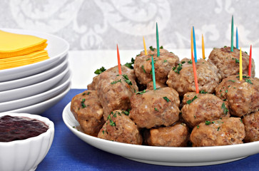 Swedish Meatballs with a side of berry sauce.