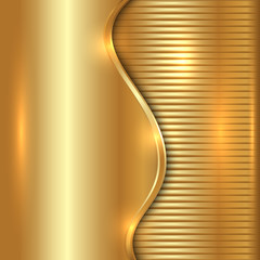 Vector abstract gold background with curve and stripes