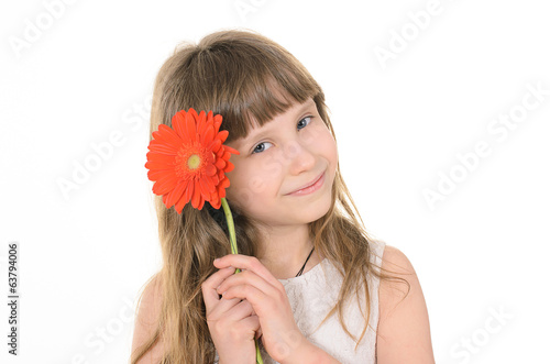 Pretty girl with flowers for mom