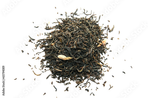 Green tea with jasmine isolated on white.