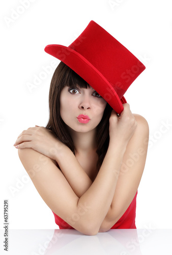 nice girl with top hat red