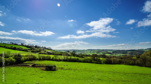 Idyllic countryside view with green pastures, blue sky