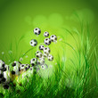 Soccer ball on green grass background, easy all editable
