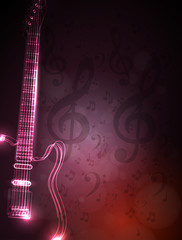 music note and neon light guitar, grunge music background