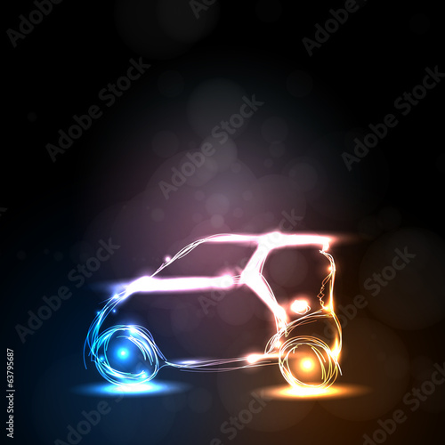 abstract neon car