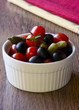 black olives, cetrioli and red tomatoes