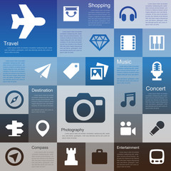 Flat design interface icon set