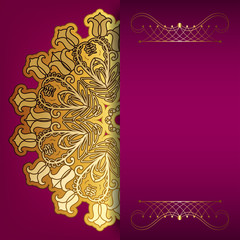 Pink card with gold pattern and place for your text.