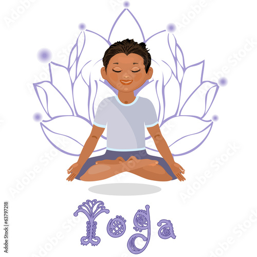 Young man in a lotus position. Yoga classes. Isolated on white b