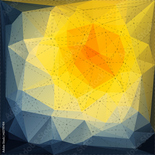 Abstract triangle mosaic background with dotted line structure