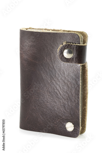 Brown leather wallet isolated over white