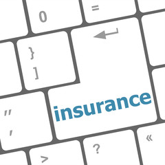 Close up view on conceptual keyboard - insurance