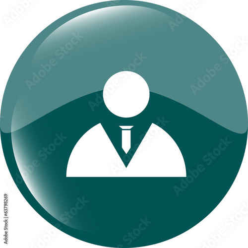 icon button with businessman inside, isolated on white