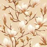 Fototapety Floral seamless pattern - magnolia