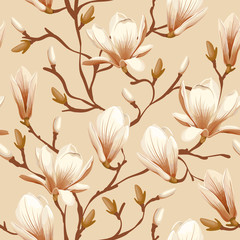 Floral seamless pattern - magnolia