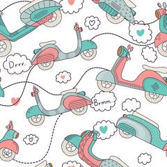 Bikes seamless pattern