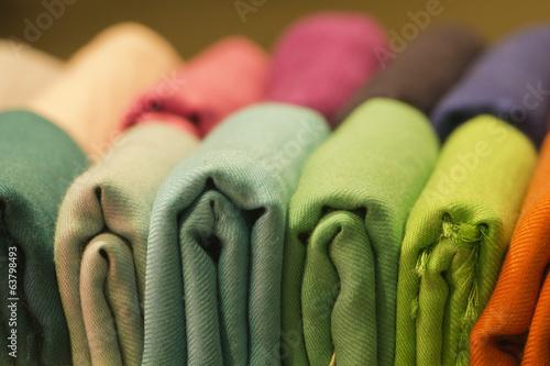 Leinwandbild Motiv Different colors silk fabric