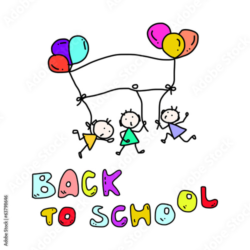 hand drawing cartoon back to school