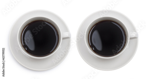 Coffee cup top view isolated with clipping path included. One wi