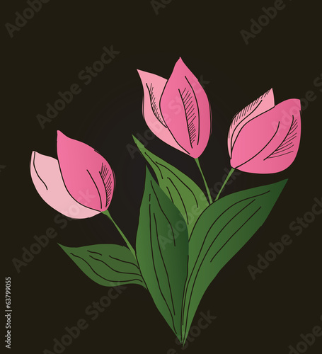 three pink tulips on the brown background