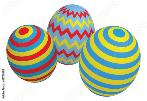 Three Colorful Easter Eggs, isolated on white