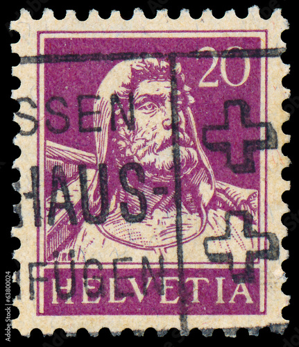 Stamp printed in Switzerland shows William Tell
