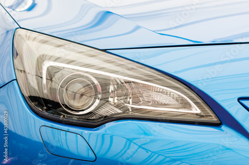 Blue Car Headlight Close Up