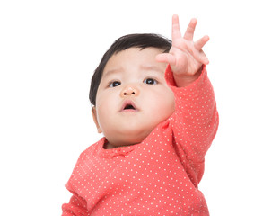 Asian baby girl hand up