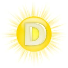 Eine Sonne mit D-Zeichen als Symbol für Vitamin D