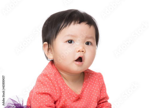 Asian baby girl screaming