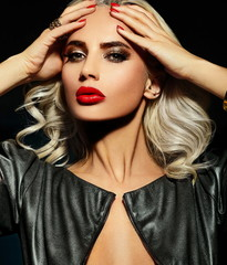sexy blond model with red lips with perfect skin