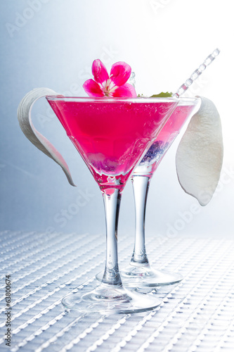 Cocktail with caviar and flower petals