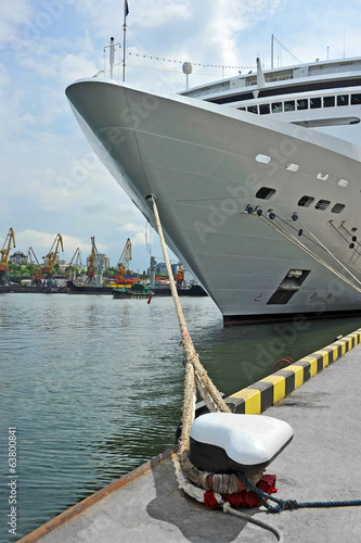 Cruise tourist ship and bollard in port of Odessa, Ukraine