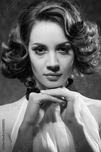 Black and white photo of beautiful woman