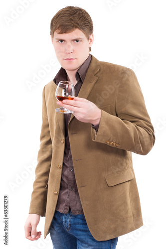 Handsome man wearing terracotta jacket