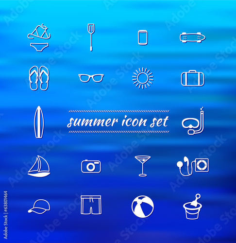 summer set of icon.water abstract background.