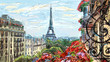 Leinwanddruck Bild - Street in paris - illustration