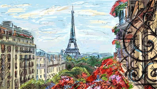 Street in paris - illustration - 63801605