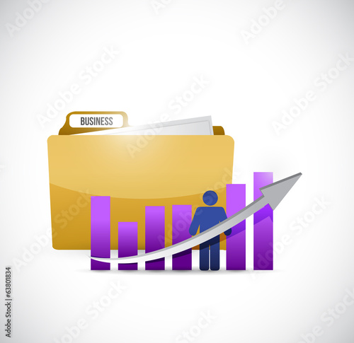 business graph and folder illustration design