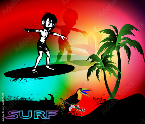 Surfing, boy on the surfboard