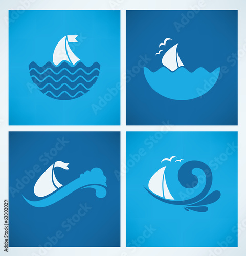 holiday on water, vector collection of travel icons and emblems