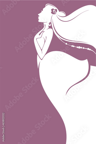 vector greeting card with image of beautiful bride