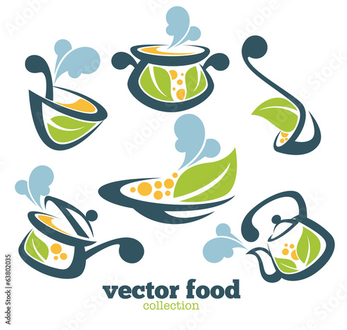 organic vector collection of cooking equipment and food symbols