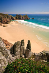 Porthcurno beach in Cornwall, UK.